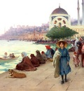 Fausto Zonaro Walking Along The Sea