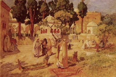 Frederick Arthur Bridgman Arab Women At The Town Wall