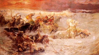 Frederick Arthur Bridgman Pharaohs Army Engulfed By The Red Sea