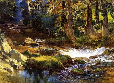 Frederick Arthur Bridgman River Landscape With Deer