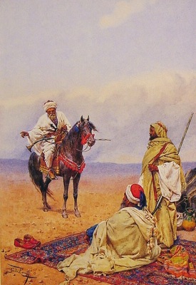 Giulio Rosati A Horseman Stopping At A Bedouin Camp