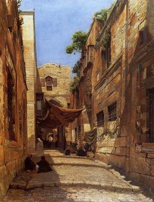 Gustav Bauernfeind Scene Of Street In Jerusalem