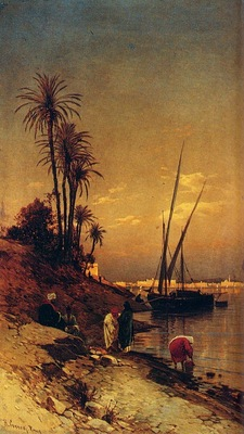 Hermann David Salomon Corrodi At The Waters Edge