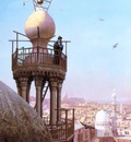 Jean Leon Gerome A Muezzin Calling From The Top Of A Minaret The Faithful To Prayer