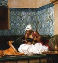 Jean Leon Gerome Arnaut Blowing Smoke At The Nose Of His Dog