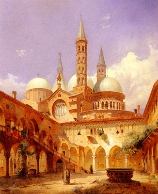 Louis Frey A Street Scene Before A Mosque