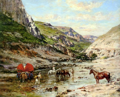 Victor Pierre Huguet Arabs Resting In A Gorge