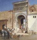 Victor Pierre Huguet Arabs Outside The Mosque