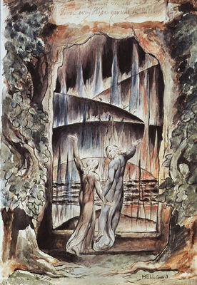 blake dante and virgil at the gates of hell illustratio