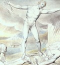 BLAKE SATAN SMITING JOB WITH BOILS, 1826, WATERCOLOR