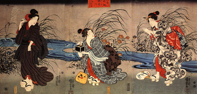Woman catching firefly by a stream