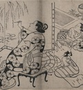 Torii Kiyonobu Courtesan painting a screen