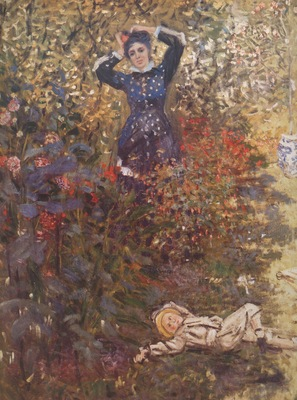 Camille and Jean Monet in the Garden at Argenteuil [1873]