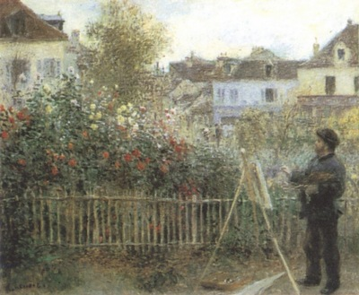Auguste Renoir Monet Painting in his Garden [1873]