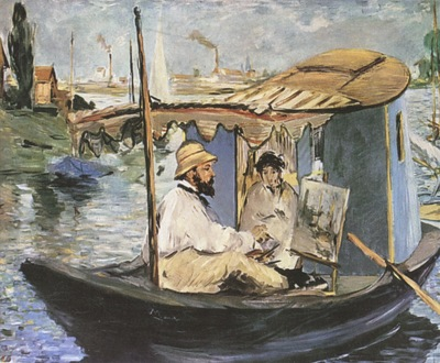 Edouard Manet Monet Painting in the Studio Boat [1874]