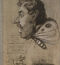Jules Didier, Butterfly Man pencil on grey blue paper