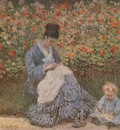 Camille Monet with a Child in the Garden [1875]