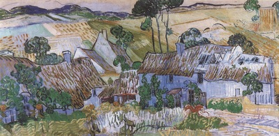 country houses with thatched roofs, auvers sur oise