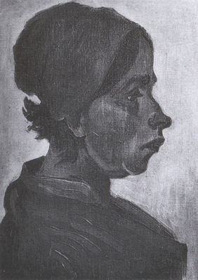 female peasants head with dark coif, nuenen