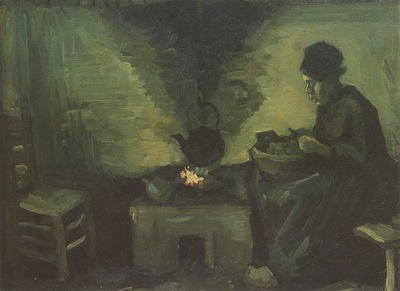 female peasant next to the fireplace, nuenen