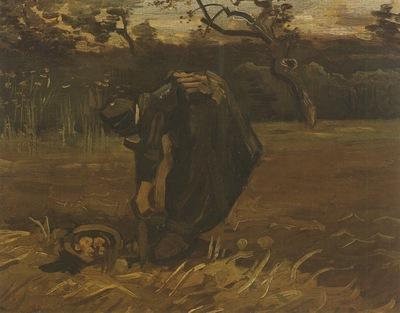 female peasant digging up potatoes, nuenen