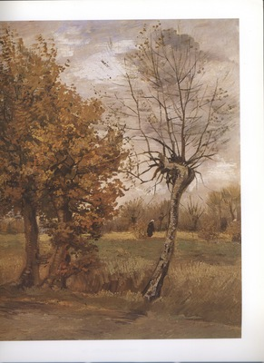 a  autumn landscape with four trees, nuenen