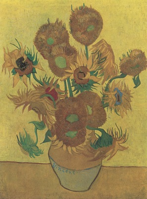 still life vase with sunflowers, arles