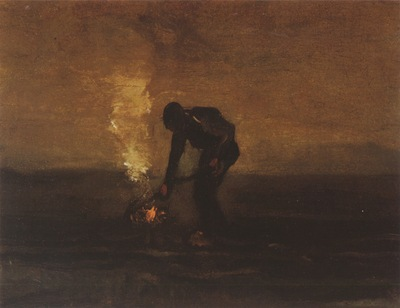 a peasant burns weeds, drente