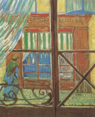 a showcase of a butchers pig viewed from a window, arles