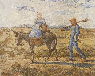 at morning, peasant couple on the path of labour, saint remy