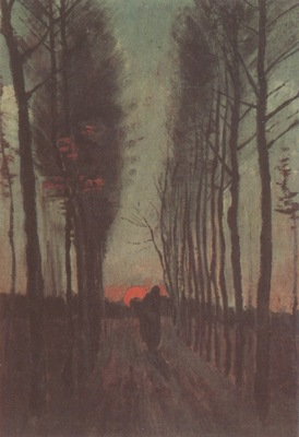 avenue of poplars, at the sunset, nuenen