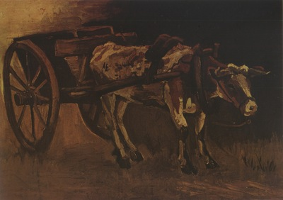 cart with white and red ox, nuenen