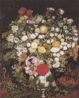 chrysanthemums and wild flowers in a vase, paris