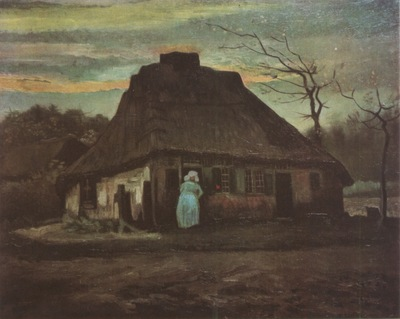 cottage at evening, nuenen