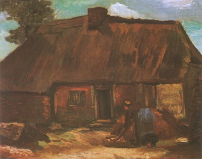 cottage with a woman digging, nuenen