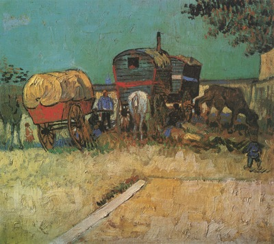encampment of gypsies with caravans, arles