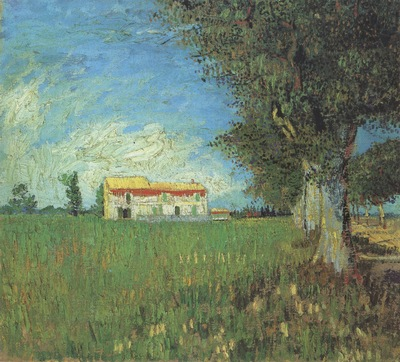farm house in wheatfield, arles