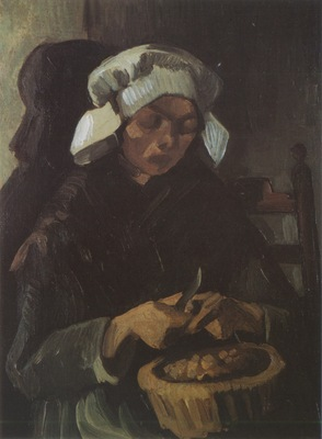 female peasant peeling potatoes, nuenen