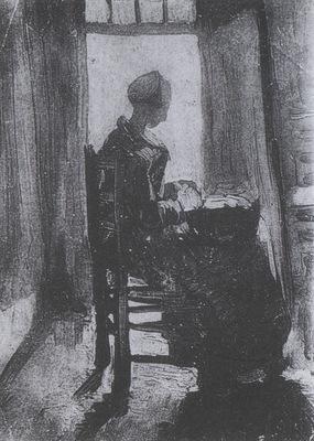 female peasant seating in front of an open door, peeling potatoes, nuenen