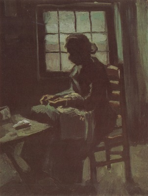 female peasant sewing in front of a window, nuenen