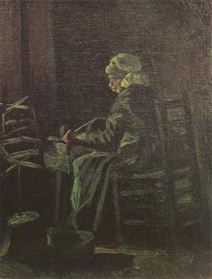 female peasant at the spinning wheel, nuenen