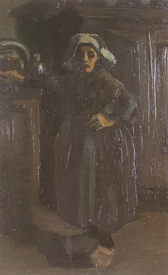 female peasant standing inside house, nuenen