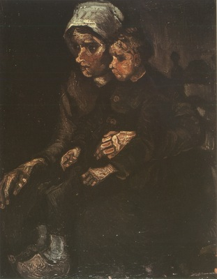 female peasant with child on lap, nuenen