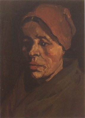 female peasants head with golden brown coif, nuenen