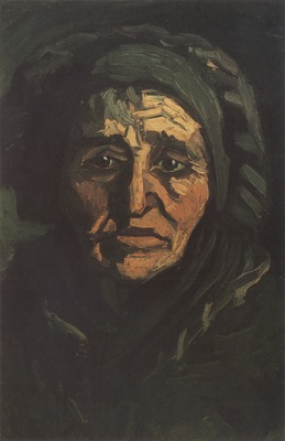 female peasants head with greenish coif, nuenen