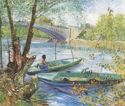 fishing in spring, pont de clichy, paris