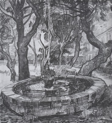 fountain in the garden of the saint pauls hospital, saint remy