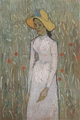 girl standing with wheat as a backdrop, auvers sur oise