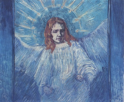 half length figure of an angel as rembrandt , saint remy