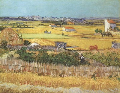 harvest at la crau, with montmajour in the background, arles